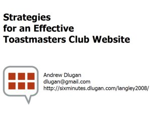Strategies for an Effective Toastmasters Club Website
