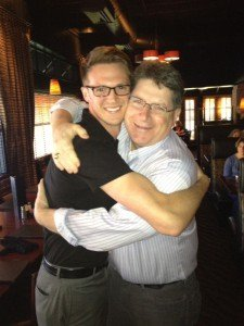 A world champion hug between Ryan Avery and Randy Harvey.